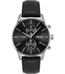 boss men's chronograph associate black leather strap watch 42mm