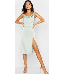 satin cowl neck midi dress, sage