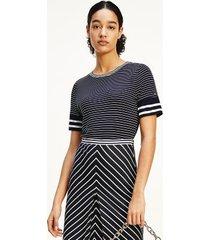 tommy hilfiger women's half-sleeve stripe top fine court stripe / desert sky - xxxl