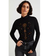 slim bodysuit embroideries - black - xl