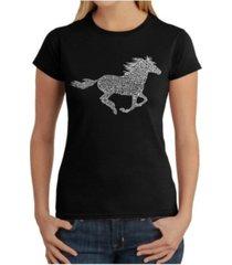 women's word art t-shirt - horse breeds