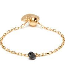 'back to black' diamond 18k gold adjustable chain ring