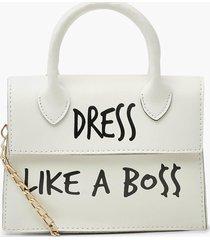 dress like a boss slogan crossbody bag, white