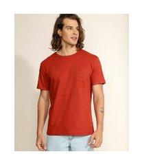 camiseta masculina básica com bolso manga curta gola careca laranja