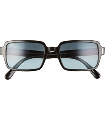 ray-ban 54mm rectangle sunglasses in shiny black/blue/grey grad at nordstrom