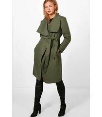 maternity tie waist shawl collar coat, khaki