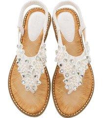 sandalias de verano con punta redonda de flores hechas a mano mujer-blanco