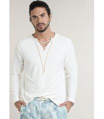 bata masculina em moletom com amarração manga longa gola v off white