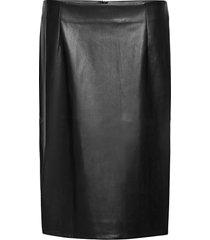 skirt imitation leather plus slim fit knälång kjol svart zizzi