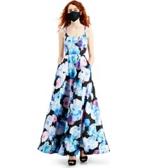rtv- crystal doll juniors' floral-print ball gown with pockets