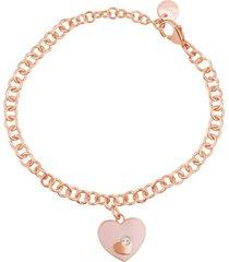 bracciale con catena in acciaio rosato e strass e charm a forma di cuore per donna