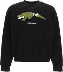 palm angels croco patch sweatshirt