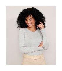 suéter de tricô básico decote redondo cinza mescla