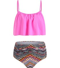 ruffled tribal print high waist tankini set