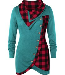 plus size skew button plaid spliced t-shirt