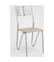 conjunto 4 cadeiras napoles cromada de metal nude kappesberg prata/off-white