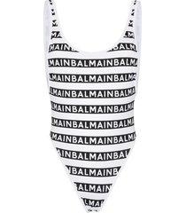 balmain logo-stripe high-leg swimsuit - black
