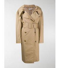 mm6 maison margiela scrunched lapel trench coat