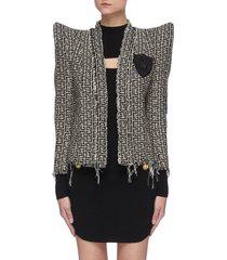 sequin embellished logo patch padded shoulder monogram tweed jacket