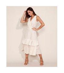 vestido feminino midi listrado em camadas com babado e fenda sem manga off white