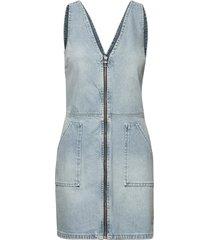 denim zipohrough dress korte jurk blauw superdry
