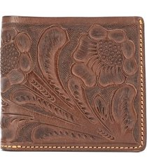 ralph lauren embossed floral wallet - brown