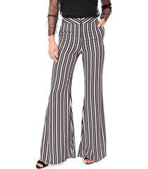 calça my favorite thing(s) pantalona listrada preta/laranja