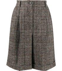 dolce & gabbana glen plaid turn-up shorts - brown