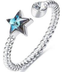 anillo star ajustable plata blue vanité