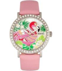 bertha quartz luna collection light pink leather watch 35mm