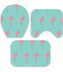kit 3 tapetes decorativos para banheiro wevans flamingo turquesa