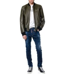dsquared2 military green leather bomber jacket