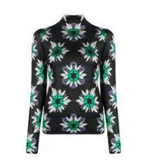 paco rabanne blusa com brilho e estampa floral - verde
