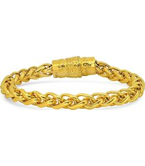 anthony jacobs men's 18k goldplated stainless steel magnetic clasp bracelet