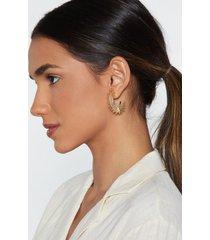 womens pocket full of sunshine half hoop earrings - gold