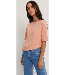 na-kd basic t-shirt med hög, rund halsringning - orange