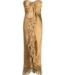 cinq a sept elise tassel-embellished dress - gold