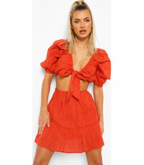 geknoopte broderie top en rok met geplooide zoom, red orange