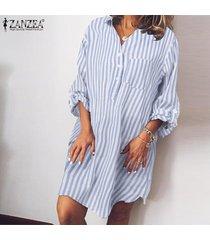 zanzea para mujer de manga larga a rayas botones en la camisa ocasional floja mini vestido de gran tamaño -azul