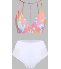 strappy mesh panel printed high waisted bikini swimsuit