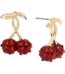 betsey johnson gold-tone pave cherry drop earrings