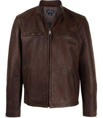 polo ralph lauren lambskin café racer jacket - brown