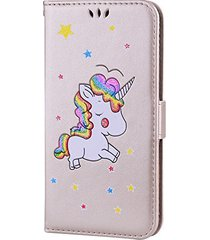 iphone 8 plus case,xyx [colorful unicorn][card slot][wallet][kickstand] pu leath