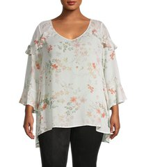 american rag women's plus floral & lace bell-sleeve top - plaza garden - size 1x (14-16)