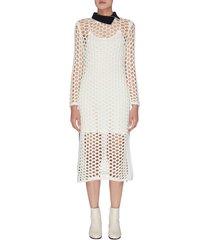contrast collar chunky mesh knit dress