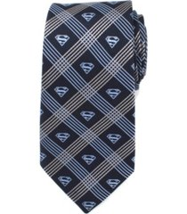 dc comics superman shield plaid men's tie