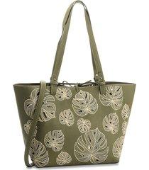 bolsa sacola desigual dupla face com necessaire verde