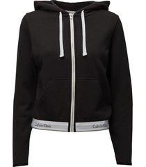 top hoodie full zip top zwart calvin klein