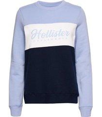 colorblocked logo crew sweat-shirt tröja blå hollister