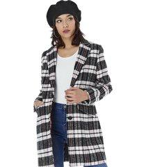 abrigo paño largo mujer navy checks corona
